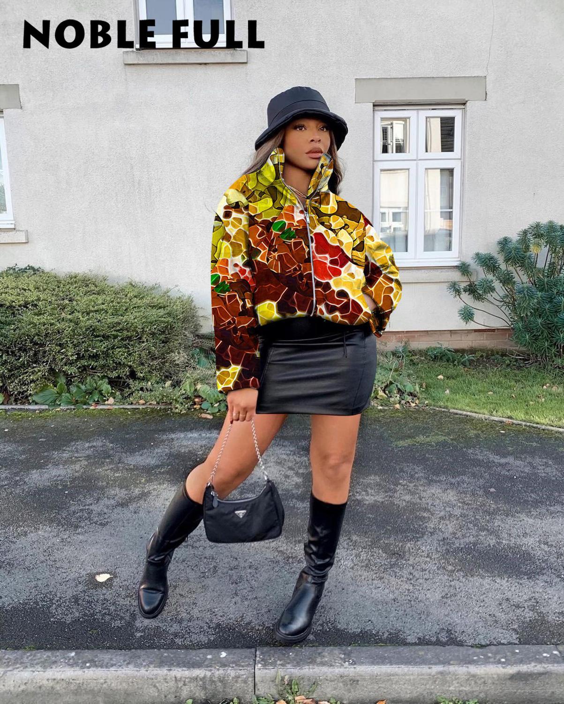 Parka Casual Coat Graffiti Print Long Sleeve Zippers Women Winter Warm Down Coat Jacket Outfit Cropped Puffy Short Bubble Coats