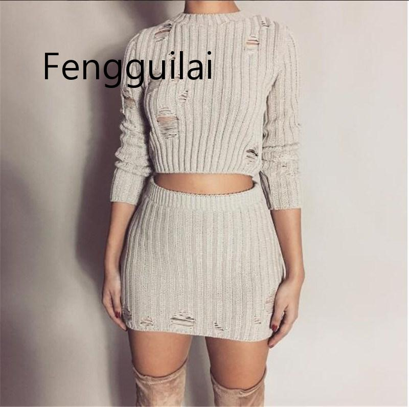 FENGGUILAI Women Autumn Knitted Dress Sexy 2 Piece Set Fashion Hollow Out Holes Mini Dress Sexy Crop Top Ladies Two Piece Set