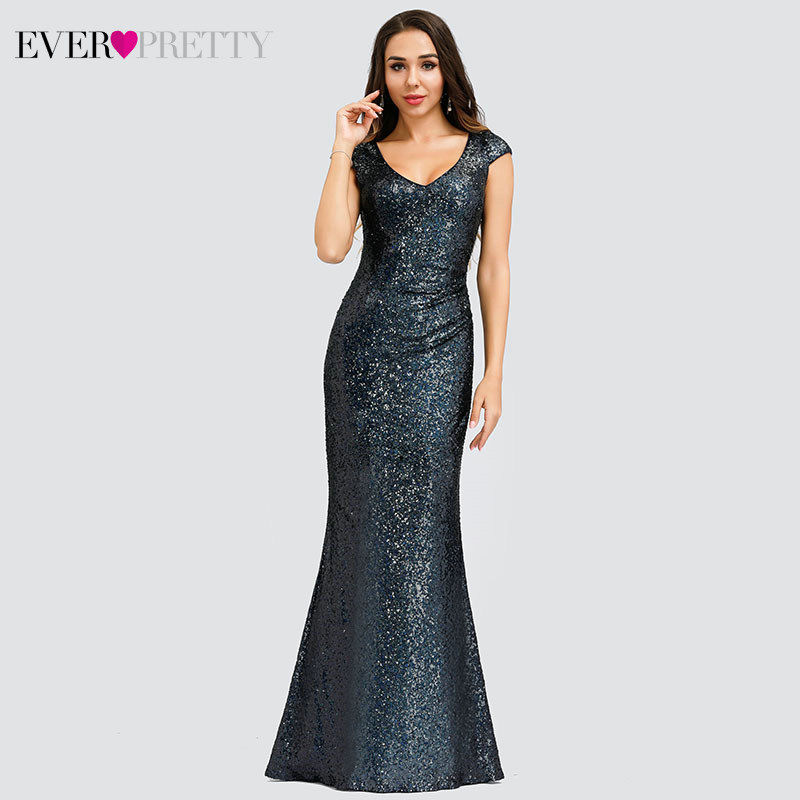Ever Pretty Saudi Arabia Mermaid Prom Dresses Sequined V-Neck Sleeveless Sexy Evening Party Gowns Robe De Soiree Paillette 2019