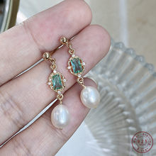 925 Sterling Silver Palace Stijl Emerald Kristallen Oorbellen Vrouwen Eenvoudige Parel Kwastje Hoge-End Royale Party Sieraden Gift