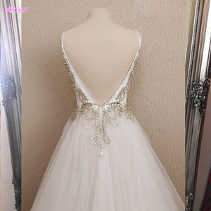 Image 2 - 2020 Amazing White Long Prom Dresses Sparkling Stones Sexy A line Party Dress Tulle Slit Left Formal Dance Ball Gowns YQLNNE