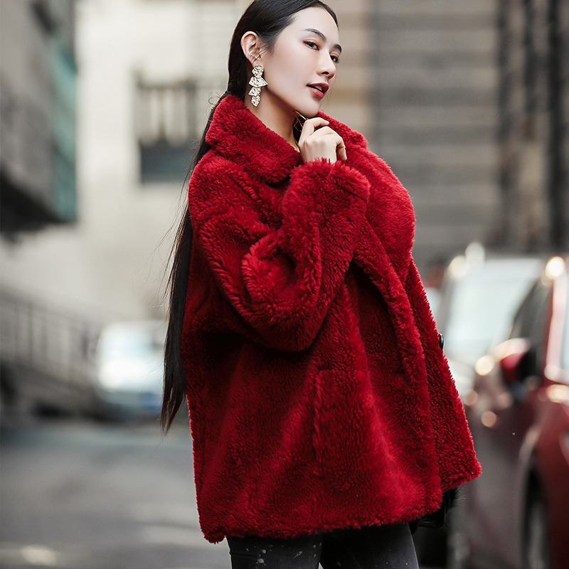 Fur Shearling Sheep Coat Female 100% Wool Coats 2020 Winter Jacket Women Korean Short Outwear Casaco Feminino MY3705 S