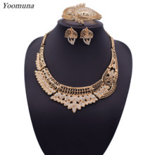 2019 Bridal Nigerian Wedding party Jewelry Set for Women Fashion African Beads Jewelry Set Dubai Gold Jewelry Design(China)