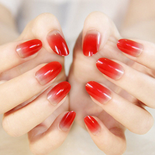 Wholesale LightCoral Ombre Artificial False Nails  Sleek UV Gel Acrylic Nail Oval Medium Red Black Rose red shiny Color Tips 24