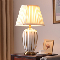 Plating Gold Stripes Ceramic Table Lamps Modern Orange White Porcelain Light Bedside Home Decor Light For Bedroom Living Room