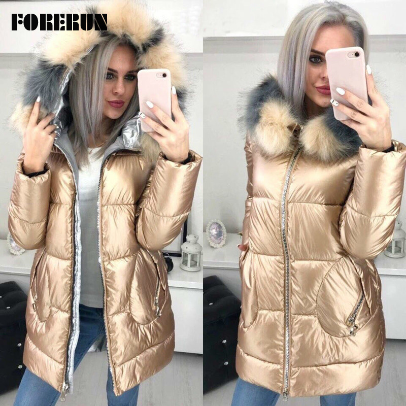 FORERUN Big Fur Hooded Jacket Women Long Winter Coat Female Glossy Casual Jackets Cotton Padded Parka Manteau Long Femme Hiver