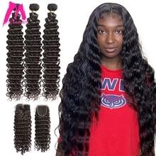 البرازيلي موجة عميقة حزم مع إغلاق وصلة إطالة شعر طبيعي 30 40 بوصة الطبيعية نسج 3 4 حزم للنساء السود Hd الدانتيل ريمي