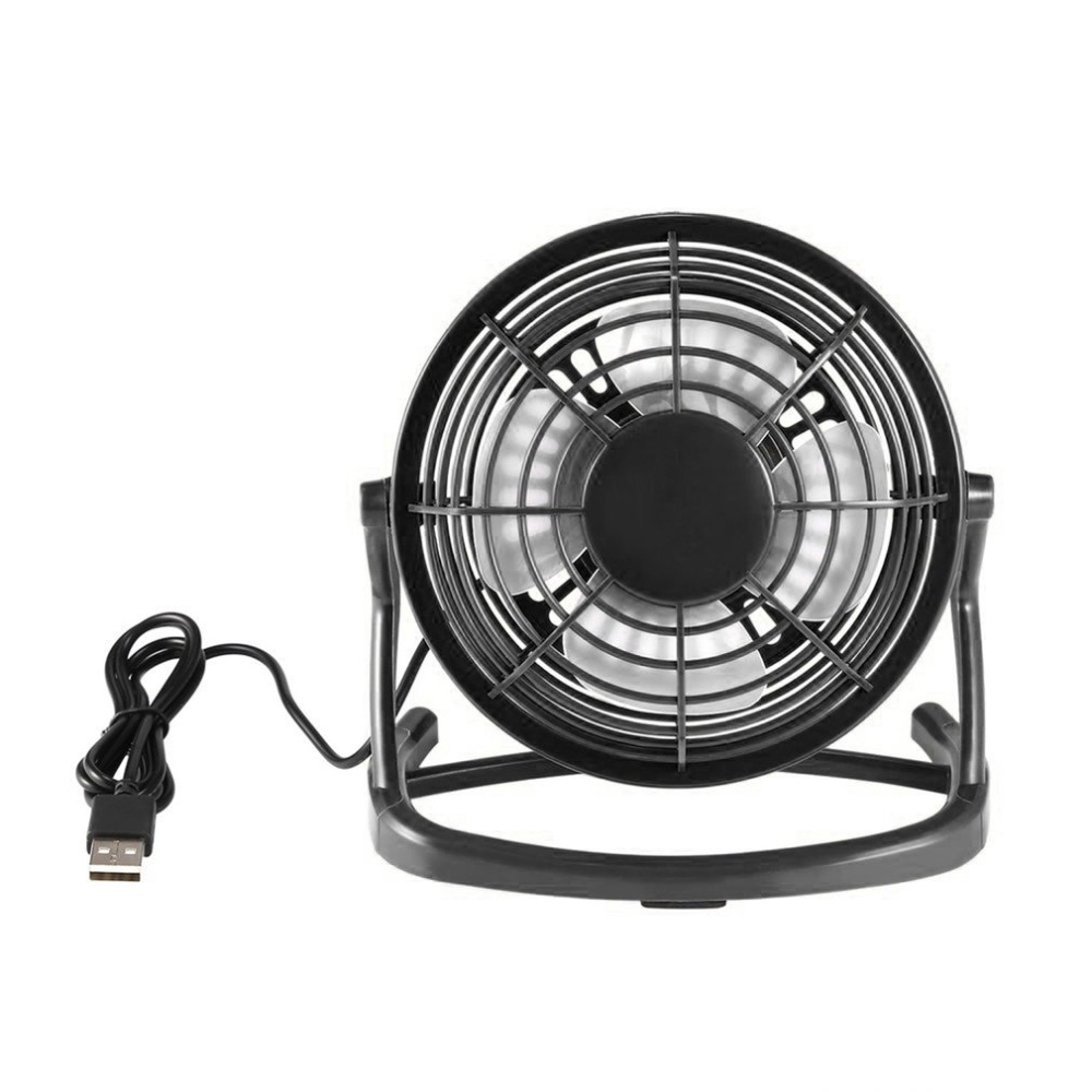 USB Power Plug 4 Blades Mini Fan DC 5V Small Desk Cooling Fan Super Mute Cooler For PC / Laptop / Notebook 180 Degree Rotation