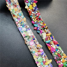 1yard length Hotfix Rhinestone Crystals Lace Trim Colorful Stones Iron On For Clothing Badge Applique For Clothes Bag DIY(China)