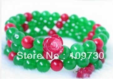 Бесплатная доставка> 909274 большой 8 мм красный цветок коралловый нефрит браслет