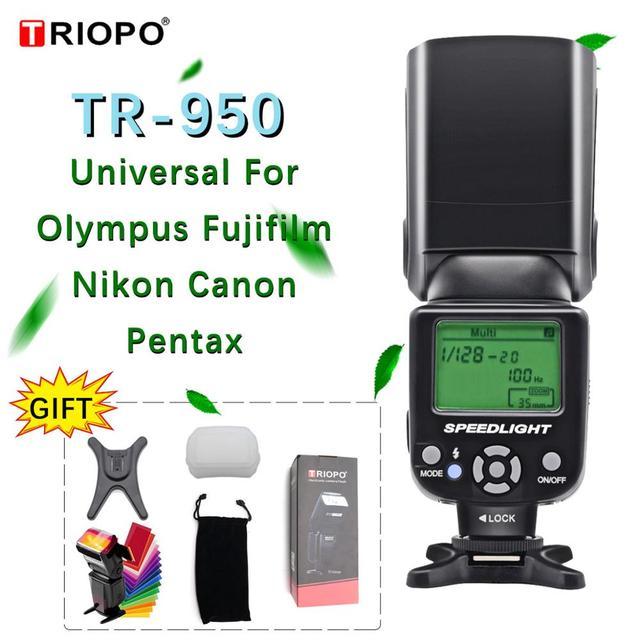 Triopo tr TR 950 Flash Light Speedlite Universale Per Fujifilm Olympus Nikon Canon 650D 550D 450D 1100D 60D 7D 5D Fotocamere REFLEX Digitali