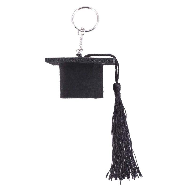 Graduation Plush Dr. Cap Metal Pendant Keychain Doctoral Hat Shaped Charm Key Chain