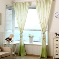 Pastoral Fresh Green Tree Printed Curtains For Bedroom Window Living Room Tulle Curtains Sheer Fabrics Drapes Home Decoration DA