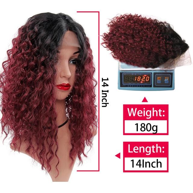 YxCheris synthétique dentelle avant perruque 14 pouces cheveux courts crépus bouclés perruques noir rouge Blonde Ombre brun dentelle avant perruque vague deau