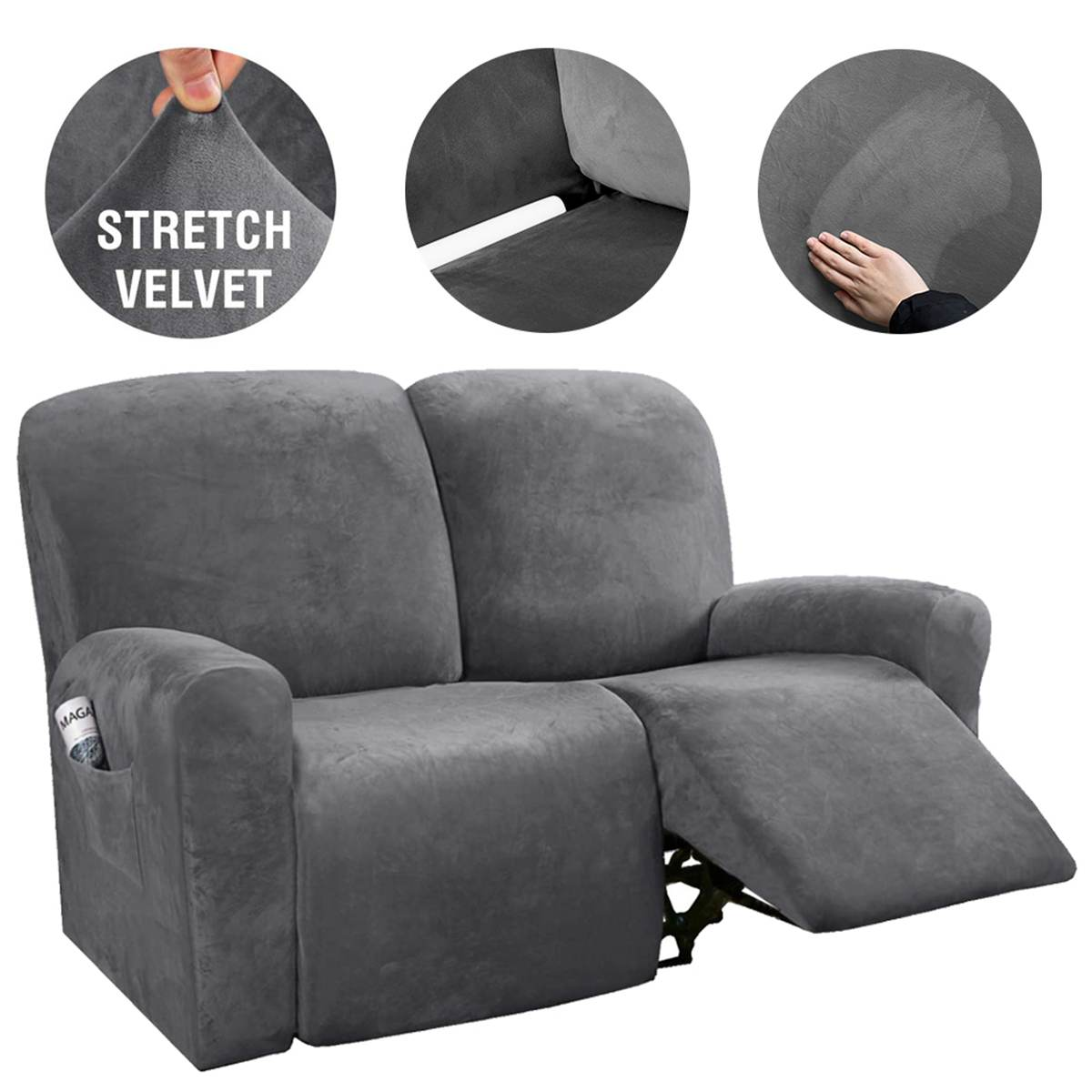 2 3 Seater Sofa Cover Stretch Velvet, Chair Covers For Sofa Recliners