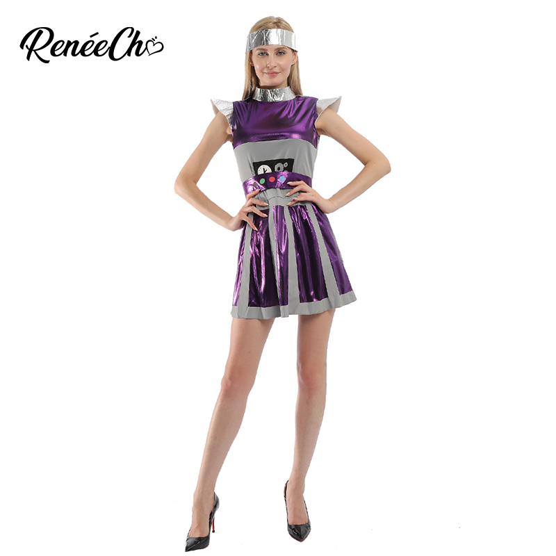 Reneecho Halloween Costume For Adult Women Robot Costume Outer Space Costume Astronaut Cosplay For Carnival Purim