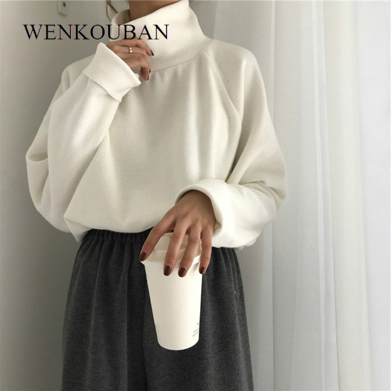 Women Turtleneck Knitted Jumpers Casual Winter Clothes Women Sweater Long Batwing Sleeve Crocheted Pullovers Jersey Mujer 2020