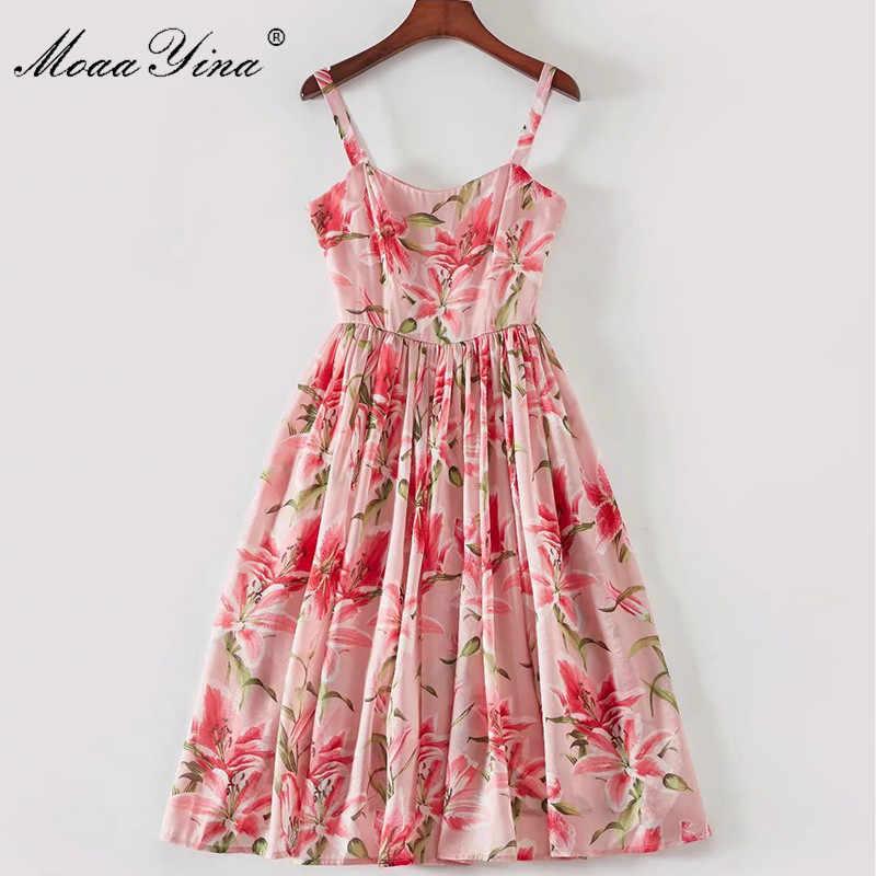 MoaaYina модельер взлетно-посадочной полосы платье сезон: весна–лето Для женщин Спагетти ремень элегантное, с цветочными мотивами Романтический Элегантное платье