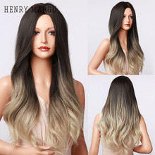 Synthetic Wigs Henry Margu Brown Women Blonde Heat-Resistant Black Natural Long Ombre