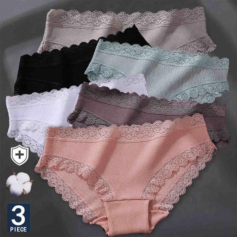 3PCS/Set Women's Cotton Panties Sexy Lace Lingerie Female Soft Underwear For Girls Ladies Underpants Floral Briefs Woman's panty