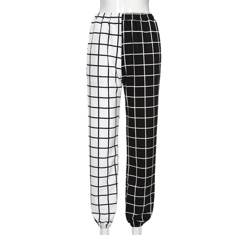 Hight Waist Straight Loose Long Trousers Streetwear Cool Girls Black and White Checkerboard Patchwork Trousers Cargo Pants