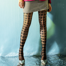 Women Black Letter Printing tights for Party Club Fashion W Classic Silk Pantyhose Thin Lady Vintage Stockings