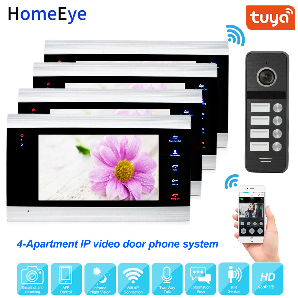 960P 7'' IP Video Door Phone Wifi Video Intercom Support Tuya Smart App Home Access Control System 4-Apartment Touch Button