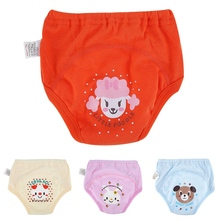 New 4Pcs Baby Cotton Cartoon Training Pants Panties Baby Diapers Cloth Diaper Nappies Washable Infants Children Underwear Nappy