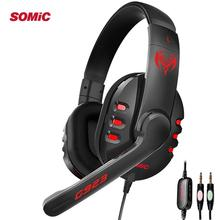 SOMIC Stereo Sound Gaming Headphones G923 Gamer Earphone Stereo Deep Bass Wired Big Headset with Mic for PC Computer PS4 X-BOX somic g941 headphones for computer gaming headset with microphone wired usb bass headphone for pc