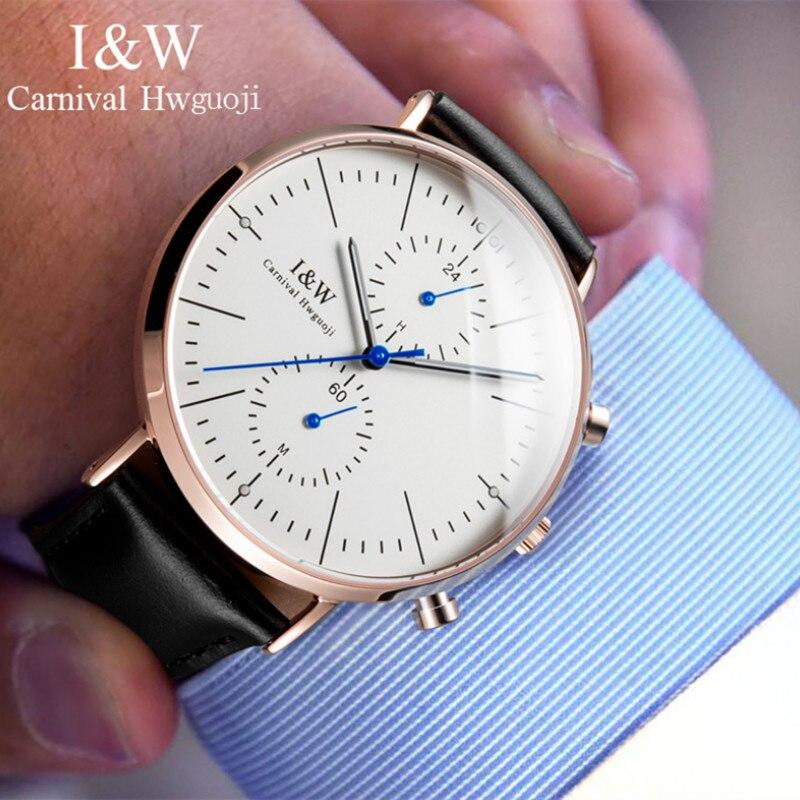 Fresh England Wind Gentlemen Elegant Business Dress Watches Workable 5 Hands Analog Wrist watch Japan Quartz Water proof Watch