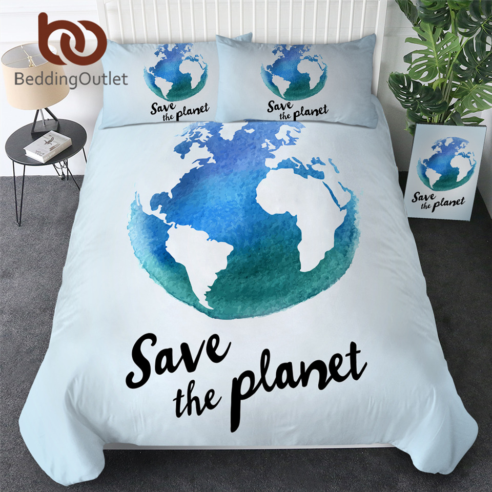 BeddingOutlet Earth Bedding Set Save The Planet Quilt Cover Watercolor Blue Map Bedspreads Globe Sphere Bedclothes 3pcs Dropship