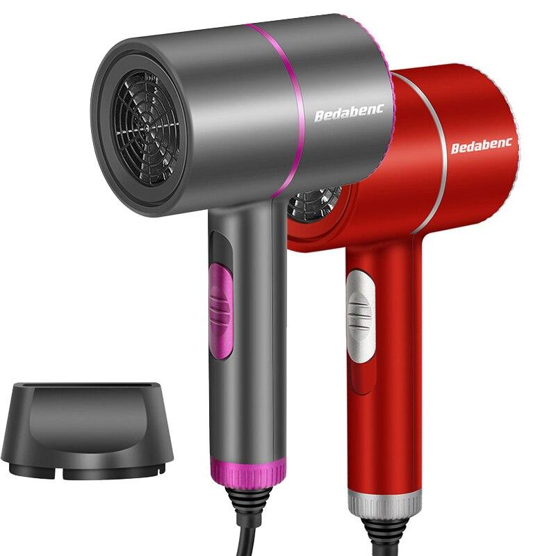 Secador de pelo iónico profesional, potente secador de pelo eléctrico para barbería, equipo de salón de peluquería de 2000w con boquilla, color azul