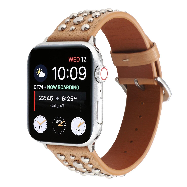 Remaches banda Apple Watch/44/42mm deporte lazo Correa Iwatch serie 5/4/3/2/1 38mm 40mm pulsera de reloj de Apple de cuero cinturón