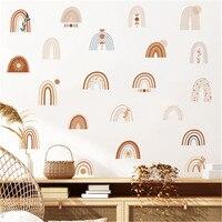 Pegatinas de pared de arcoíris para habitación de niños, pegatinas decorativas de estilo nórdico bohemio para habitación de niñas