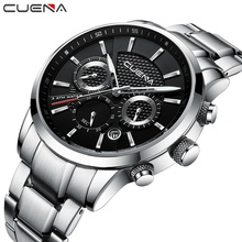 CUENA Sport Quartz Watches Men Chronograph Luminous Stainless Steel 30m Waterproof Fashion Luxury Silver Male Relojes