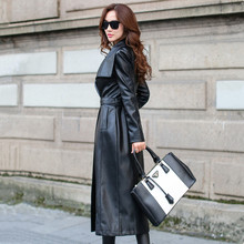 leather PU Long trench coat women 2020 autumn fashion High-end Slim Belt Black Women Overcoat Long Windbreaker Plus size S-XXXL(China)