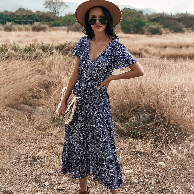 Floral Print Maxi Dress Women Boho Elegant V Neck Long Shirt Dress Summer Short Sleeve Long Dress Ladies 2021 Beach Sundress 4