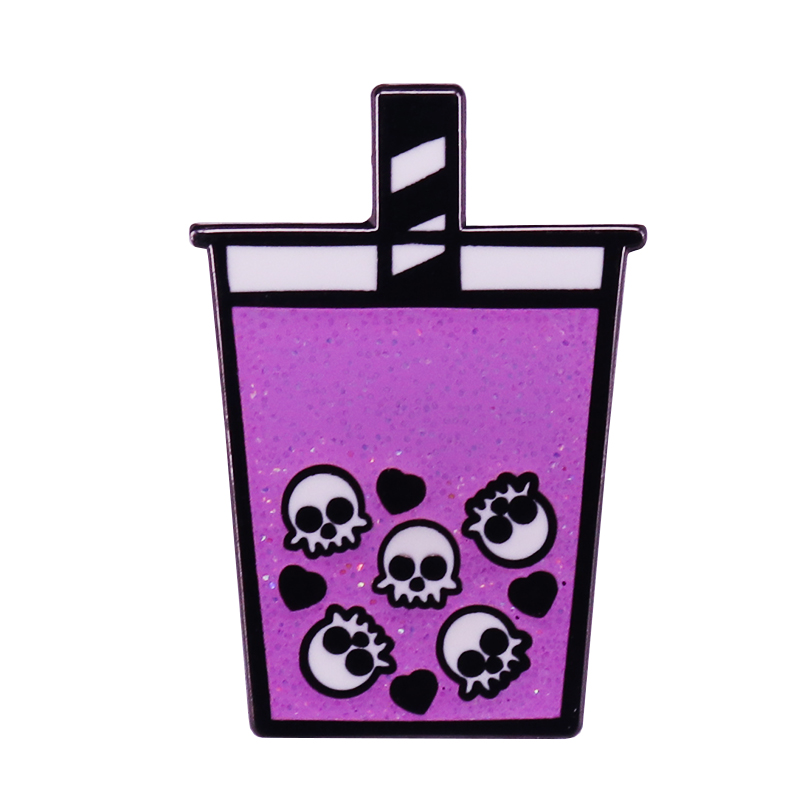Skull Bubble Milk Tea Cup Enamel Pin Take your spooky aesthetic one step further with boba! Drink up!