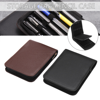 1Pc Artificial Leather Fountain Pen Case 175*120*25mm 12 Pens Fountain Pen Roller Leather Case Holder Stationery For Student 2pcs luxury monte mount chocolate leather pen case for only one fountain pen or roller ball pen free shipping
