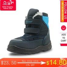 Apakowa Winter Stiefel Jungen Mid Kalb Pu Leder Gummi Schnee Stiefel Doppel Haken & Loops kinder Schuhe Warme plüsch für Jungen Kinder