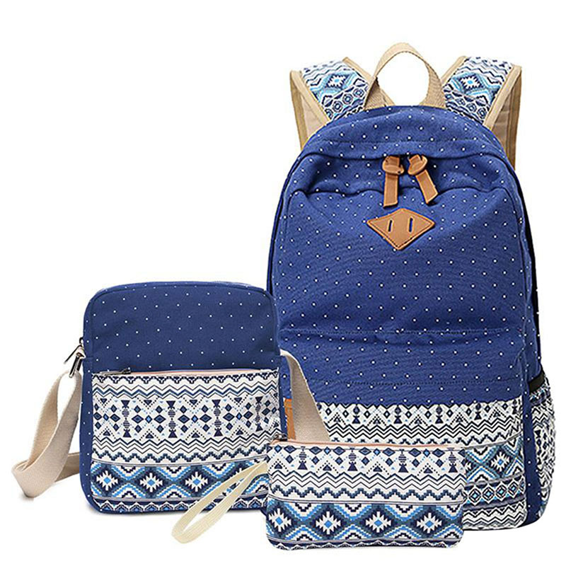 3 Pcs/set Polka Dot Printing Women Backpack Cute Lightweight Canvas Bookbags Middle High School Bags For Teenage Girls, Blue