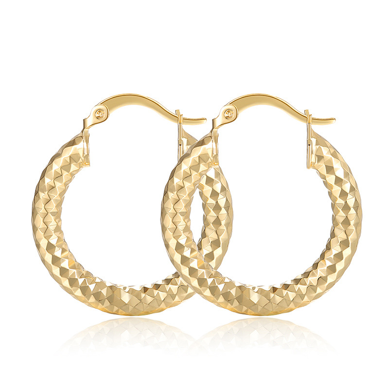 New Fashion Simple Round Frosted Circle Electroplating Gold Earrings Wholesale Jewelry