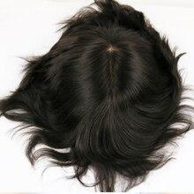 男性毛システムかつら男性ピース絹のようなストレートフルシルクベースかつら黒カラー # 1b ブラジルレミー人間の髪交換