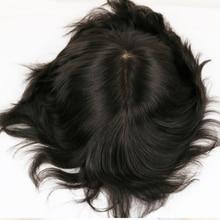 Do włosów dla mężczyzn System peruka mężczyźni treski Silky prosto pełna baza jedwabiu peruka czarny kolor # 1b brazylijski Remy ludzki włos w celu uzyskania