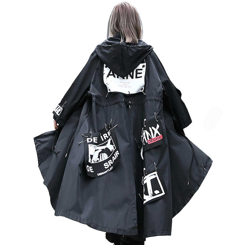 QING MO Letter Patched Hooded Trench Coat Women Black Long Coat Hip-Hop Loose Windproof Coat BF Windbreaker DQ0104A