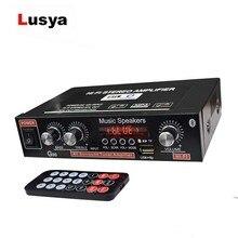 Lusya 12V รถ Amplifier 2.0 เสียงดิจิตอลบลูทูธเครื่องขยายเสียง 45W + 45W รองรับ FM TF Card U Disk รีโมทรถบ้าน H3 002