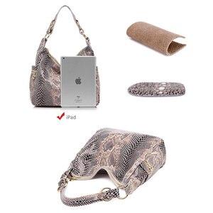 Image 5 - REALER Bolsos De piel auténtica con estampado de serpiente para mujer, carteras de hombro tipo bandolera, escolares, clásicas
