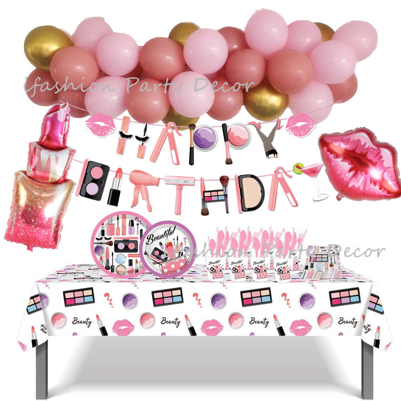 Spa Make Up Birthday Party Supplies Makeup Disposable Tableware Plates Cup Napkins Balloon Garland for Girls Party Decoration