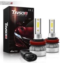 TXVSO8 Mini H8 LED Lights COB Chips Car Headlight Bulbs 20000LM 6000K Super Bright 12V 110W Error Free Automobiles Lamps