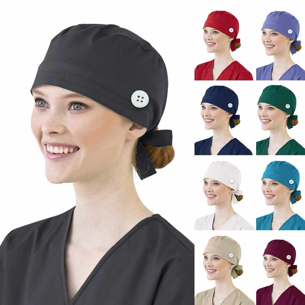 Women Cotton Bandage Adjustable  Cap Sweatband Bouffant Hat Men gorros quirofano mujer nurse uniform Accessories